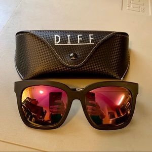 Diff Eyewear Bella Black/Pink Polarized Lens